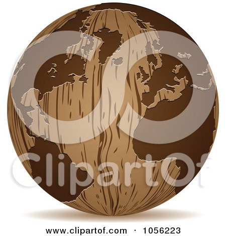 Royalty-Free Vector Clip Art Illustration of a 3d Wooden Globe Sphere Icon by Andrei Marincas