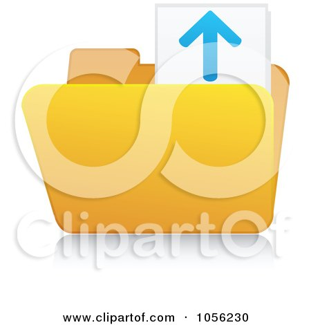 Royalty-Free Vector Clip Art Illustration of a Yellow 3d Upload Folder And Reflection by Andrei Marincas