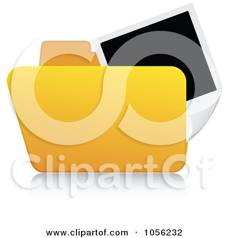 Royalty-Free Vector Clip Art Illustration of a Yellow 3d Pictures Folder And Reflection by Andrei Marincas
