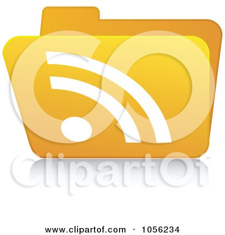 Royalty-Free Vector Clip Art Illustration of a Yellow 3d RSS Folder - 3 by Andrei Marincas