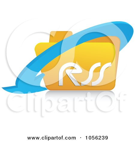 Royalty-Free Vector Clip Art Illustration of a 3d Arrow Around A Yellow Rss Folder - 1 by Andrei Marincas