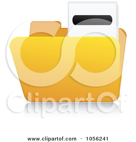 Royalty-Free Vector Clip Art Illustration of a Yellow 3d Minus Folder And Reflection by Andrei Marincas