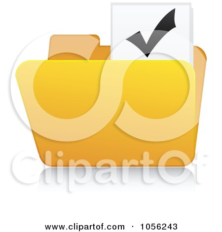 Royalty-Free Vector Clip Art Illustration of a Yellow 3d Check Mark Folder And Reflection by Andrei Marincas