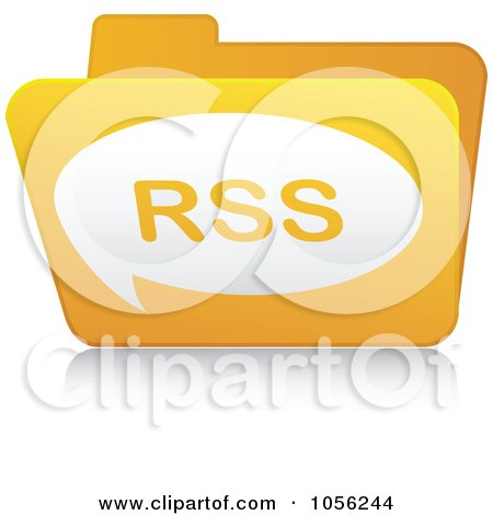 Royalty-Free Vector Clip Art Illustration of a Yellow 3d RSS Folder - 2 by Andrei Marincas