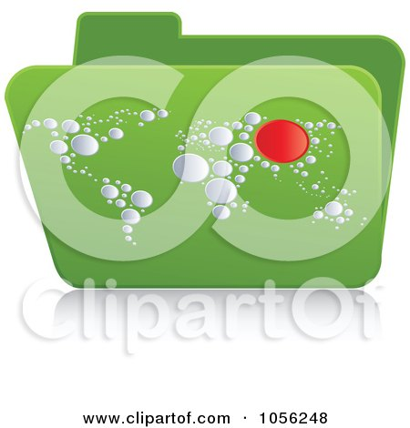 Royalty-Free Vector Clip Art Illustration of a Green 3d Atlas Folder by Andrei Marincas