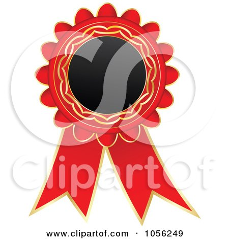 Royalty-Free Vector Clip Art Illustration of a Red And Gold Rosette Ribbon by Andrei Marincas