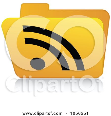Royalty-Free Vector Clip Art Illustration of a Yellow 3d RSS Folder - 4 by Andrei Marincas