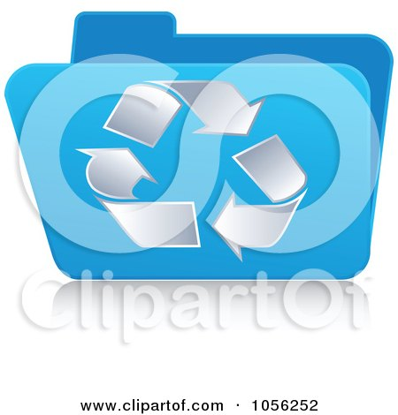 Royalty-Free Vector Clip Art Illustration of a Blue 3d Recycle Folder by Andrei Marincas