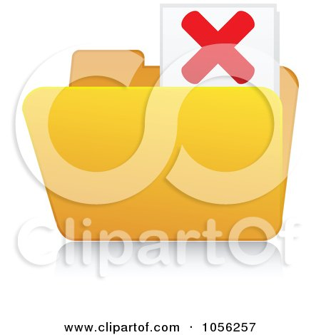 Royalty-Free Vector Clip Art Illustration of a Yellow 3d X Folder And Reflection by Andrei Marincas