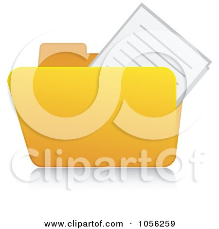 Royalty-Free Vector Clip Art Illustration of a Yellow 3d Documents Folder And Reflection by Andrei Marincas