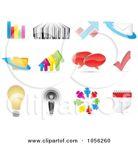 Royalty-Free Vector Clip Art Illustration of a Digital Collage Of Business And Web Icons by Andrei Marincas