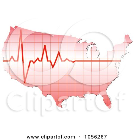 Royalty-Free Vector Clip Art Illustration of a Heart Beat Over America by Andrei Marincas