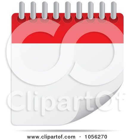 Royalty-Free Vector Clip Art Illustration of a Blank Desk Calendar With A Turning Page by Andrei Marincas
