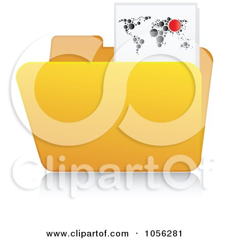 Royalty-Free Vector Clip Art Illustration of a Yellow 3d Map Folder And Reflection by Andrei Marincas