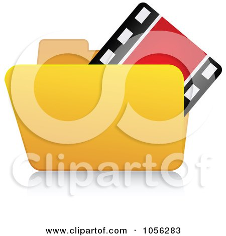 Royalty-Free Vector Clip Art Illustration of a Yellow 3d Video Folder And Reflection by Andrei Marincas