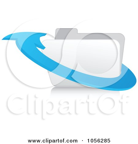 Royalty-Free Vector Clip Art Illustration of a 3d Blue Arrow Around A White Folder - 2 by Andrei Marincas