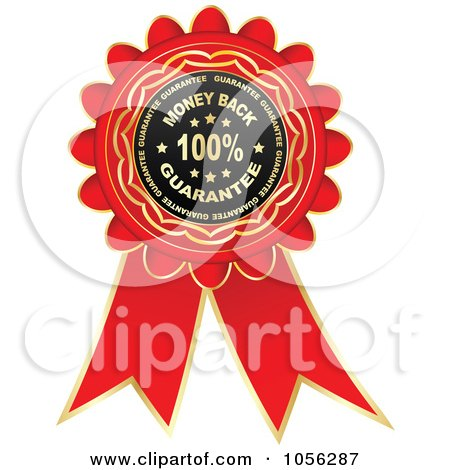 Royalty-Free Vector Clip Art Illustration of a Red And Gold Money Back Guarantee Rosette Ribbon by Andrei Marincas