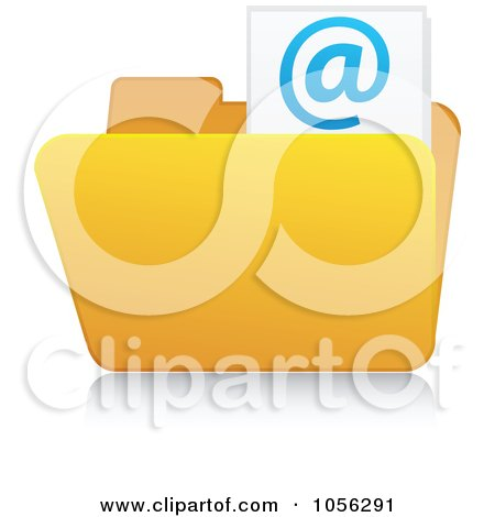 Royalty-Free Vector Clip Art Illustration of a Yellow 3d Email Folder And Reflection - 2 by Andrei Marincas