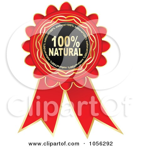 Royalty-Free Vector Clip Art Illustration of a Red And Gold Natural Guarantee Rosette Ribbon by Andrei Marincas