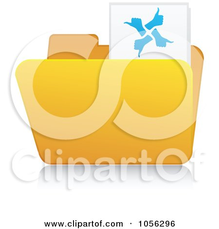 Royalty-Free Vector Clip Art Illustration of a Yellow 3d Thumbs Up Folder And Reflection by Andrei Marincas
