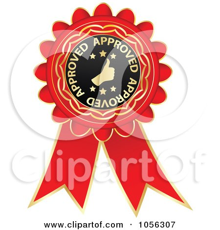 Royalty-Free Vector Clip Art Illustration of a Red And Gold Approved Guarantee Rosette Ribbon by Andrei Marincas