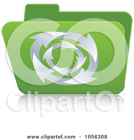 Royalty-Free Vector Clip Art Illustration of a Green 3d Folder With Circling Arrows by Andrei Marincas