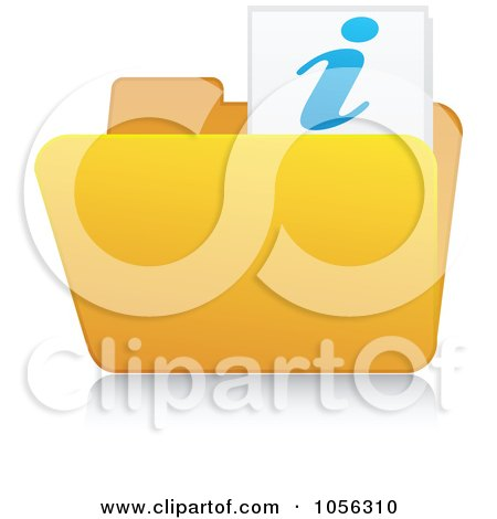 Royalty-Free Vector Clip Art Illustration of a Yellow 3d Info Folder And Reflection by Andrei Marincas