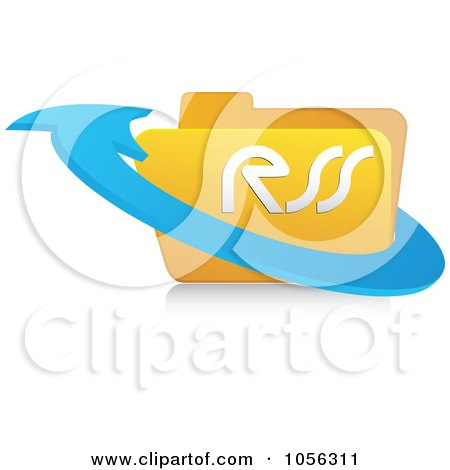 Royalty-Free Vector Clip Art Illustration of a 3d Arrow Around A Yellow Rss Folder - 2 by Andrei Marincas