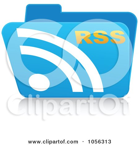Royalty-Free Vector Clip Art Illustration of a Blue 3d Rss Folder by Andrei Marincas