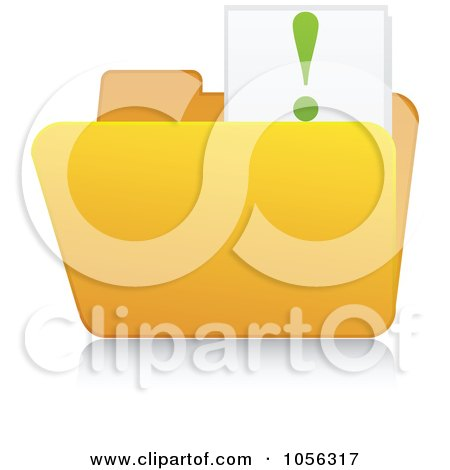 Royalty-Free Vector Clip Art Illustration of a Yellow 3d Idea Folder And Reflection by Andrei Marincas