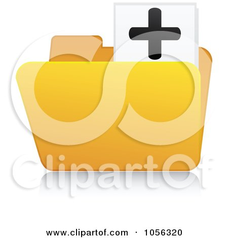 Royalty-Free Vector Clip Art Illustration of a Yellow 3d Add Folder And Reflection by Andrei Marincas