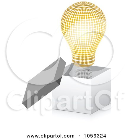 Royalty-Free Vector Clip Art Illustration of a Golden Halftone Lightbulb In A 3d Open Box by Andrei Marincas