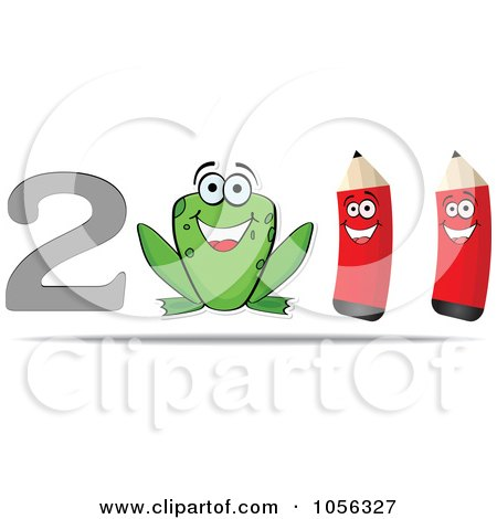 Royalty-Free Vector Clip Art Illustration of a Happy Frog And Two Pencils In 2011 by Andrei Marincas