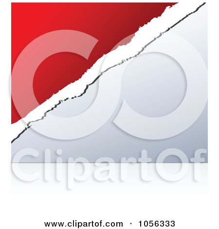 Royalty-Free Vector Clip Art Illustration of a Red And White Torn Paper Over Gray by Andrei Marincas