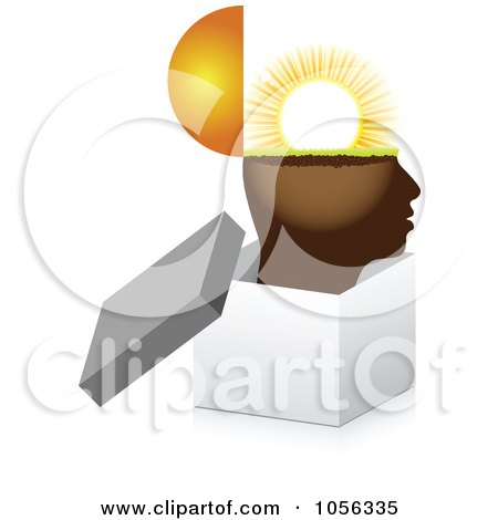 Royalty-Free Vector Clip Art Illustration of a Sunny Brain In An Open 3d Box by Andrei Marincas
