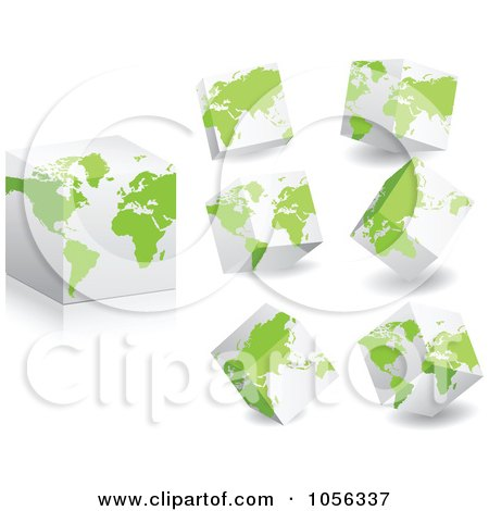 Royalty-Free Vector Clip Art Illustration of a Digital Collage Of 3d Cubes With Green Maps by Andrei Marincas