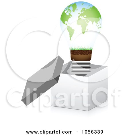 Royalty-Free Vector Clip Art Illustration of an Atlas Lightbulb In A 3d Open Box by Andrei Marincas