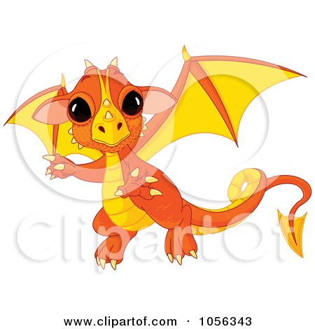 Royalty-Free Vector Clip Art Illustration of a Cute Orange Baby Dragon Flying by Pushkin