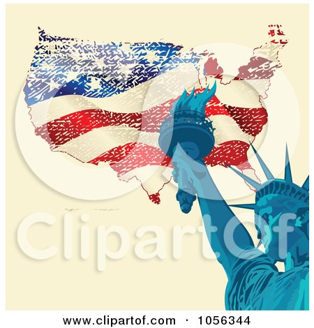 Royalty-Free Vector Clip Art Illustration of a Statue Of Liberty Holding The Torch Over A Grungy American Map by Pushkin
