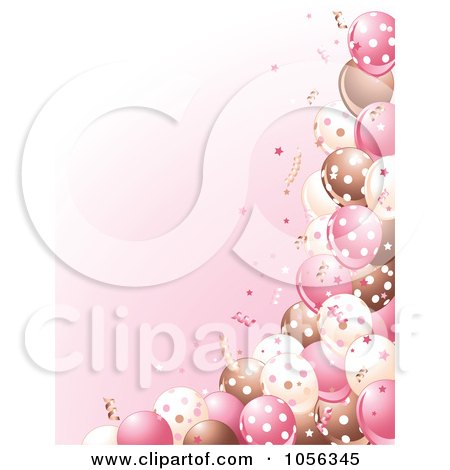 Royalty Free Vector Clip Art Illustration Of A Girls Birthday Party Background Brown Pink And White Balloons Confetti On By Pushkin