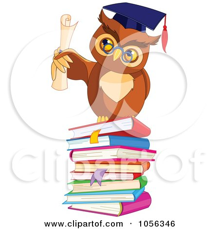 Royalty-Free Vector Clip Art Illustration of a Professor Owl Holding A Diploma On A Stack Of Books by Pushkin