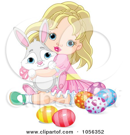Royalty-Free Vector Clip Art Illustration of a Cute Blond Girl Hugging A Bunny And Sitting By Easter Eggs by Pushkin