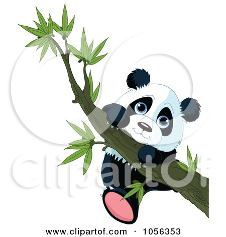Royalty-Free Vector Clip Art Illustration of a Cute Baby Panda Hanging From A Tree Branch by Pushkin