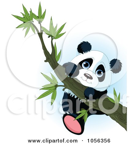 Royalty-Free Vector Clip Art Illustration of a Cute Baby Panda Climbing A Tree Branch by Pushkin