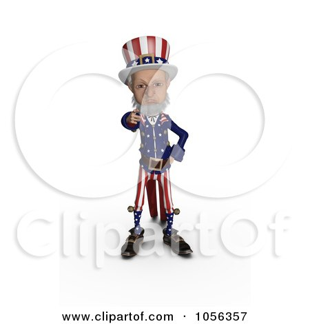 Royalty-Free CGI Clip Art Illustration of a 3d Uncle Sam Standing And Pointing Outwards by Michael Schmeling