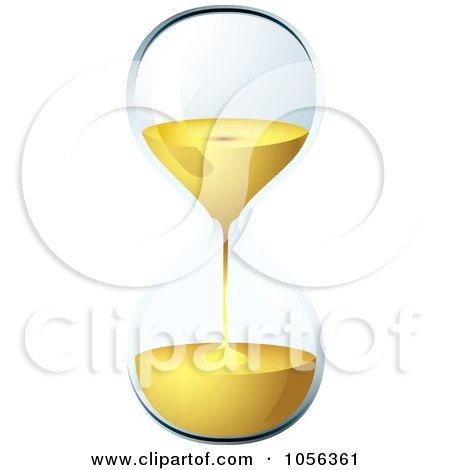 Royalty-Free Vector Clip Art Illustration of a 3d Egg Timer Hourglass Running Out Of Time by michaeltravers