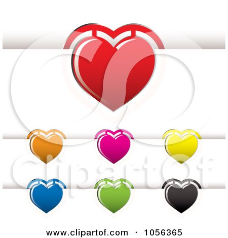 Royalty-Free Vector Clip Art Illustration of a Digital Collage Of Heart Book Marks by michaeltravers