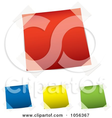 Royalty-Free Vector Clip Art Illustration of a Digital Collage Of Taped Colorfu Notes by michaeltravers