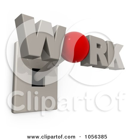Royalty-Free CGI Clip Art Illustration of a 3d WORK Switch by 3poD