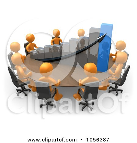 Royalty-Free CGI Clip Art Illustration of 3d Orange People Discussing A Bar Graph At A Meeting Table by 3poD